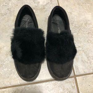Black Fur Shoes